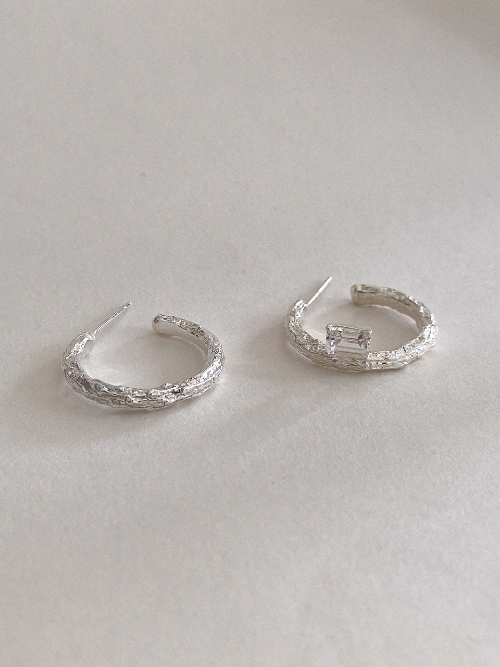 Twig Earrings - white topaz (square)